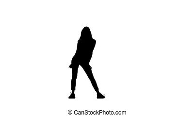 Beautiful sexy young woman dancing isolated on white background, silhouette