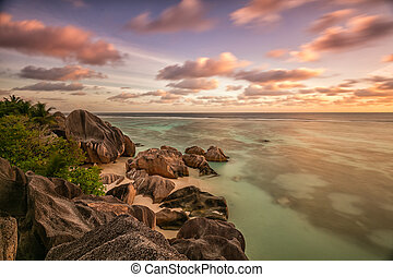 Beautiful Seychelles beach at La Digue in sunset
