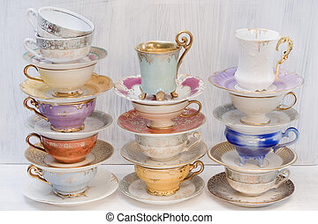 Beautiful shabby chic antique cups