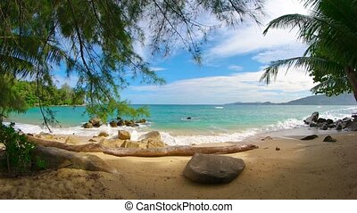 Beautiful, Shaded Tropical Beach with Sound - Video 1080p -...