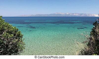 Beautiful shallow sea with vegetation around bay, pine trees...