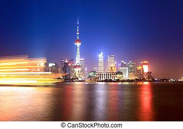 beautiful shanghai huangpu river at night