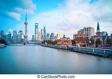 beautiful shanghai in dusk
