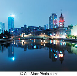 beautiful shanghai skyline at night, China