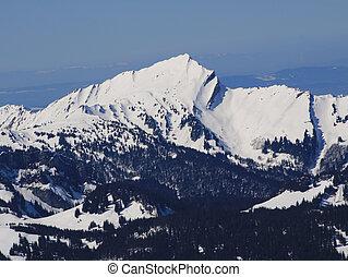 Beautiful shaped mountain Grosser Speer in Winter.