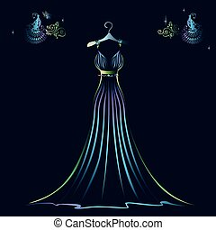 Beautiful shining evening dress silhouette