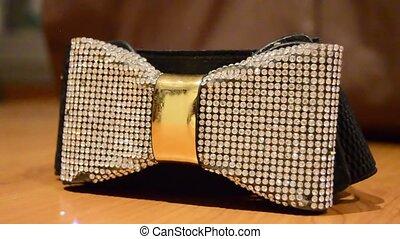 Beautiful shiny bow Waist Belt rotating shot. elegant belt...