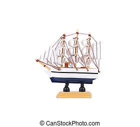 Beautiful ship model. Isolated on a white background.