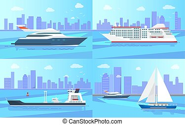 Beautiful Ships on Water Surface Illustrations Set
