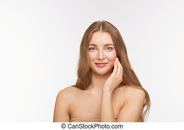 Beautiful shirtless lady over white background