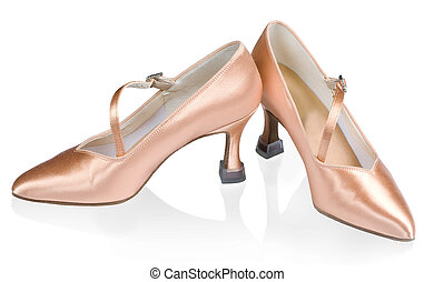 Beautiful shoes for ballroom dancing isolated on white...