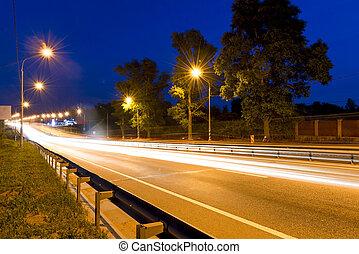 beautiful shooting moving cars at night