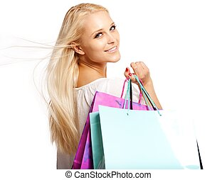 Beautiful Shopaholic Isolated on White