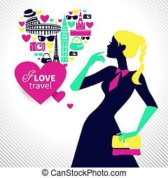 Beautiful shopping girl dreams about traveling. Heart shape...