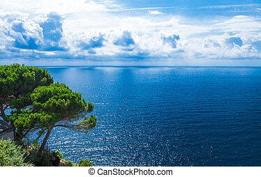 Beautiful shore of the Adriatic Sea. Blue sea white clouds....