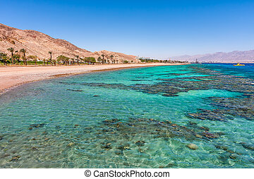Beautiful shoreline in Eilat, Israel. - Aquamarine water and...