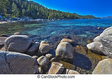 Beautiful Shoreline of Lake Tahoe - Beautiful Clear Water ...
