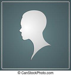 illustration of women short hair style icon, logo female face