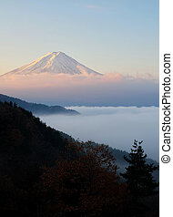Beautiful shot of Mount Fuji with sea of mist in foreground