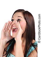 Beautiful Shouting Woman