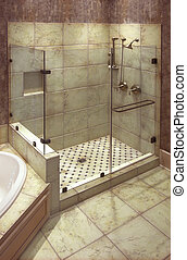 beautiful shower - beautiful large tile shower with brass...