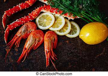 Beautiful shrimp with crab meat lemon and greens