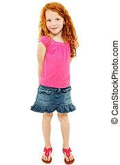 Beautiful Shy Redhead School Girl over White