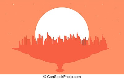 Beautiful silhouette city and big moon