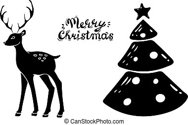 Beautiful silhouette deer, christmas tree. Side view. hand drawn picture sketchy. Merry Chistmas.