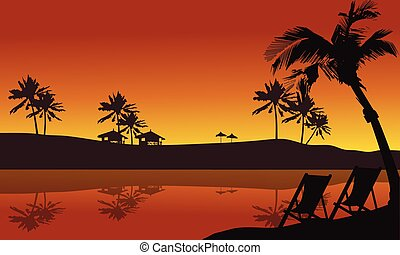 Beautiful silhouette in seaside summer holiday