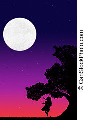 silhouette of a big tree and a dancing woman against the background of the evening sky with stars and the moon