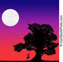 silhouette of a big tree and a woman on a swing against the background of the evening sky with stars and moon