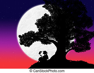 silhouette of a large tree and a woman sitting under it against the background of the evening sky with stars and the moon