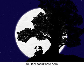 silhouette of a large tree and a woman sitting under it against the background of the night sky with stars and the moon