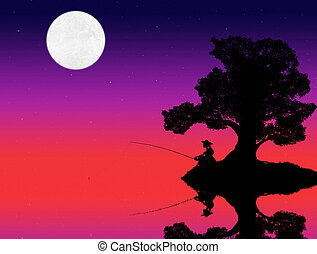 silhouette of a woman sitting under a tree and fishing in the lake against the background of the evening sky with stars and moon