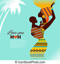 Beautiful silhouette of black african mother and baby in retro style. Cards of Happy Mother's Day