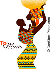 Beautiful silhouette of black african mother and baby in ...