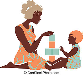 Beautiful silhouette of mother and baby playing with toys....