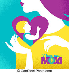 Beautiful silhouette of mother and baby in heart. Card of Happy Mother's Day
