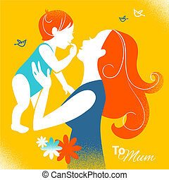 Beautiful silhouette of mother and baby in retro style. Cards of Happy Mother's Day
