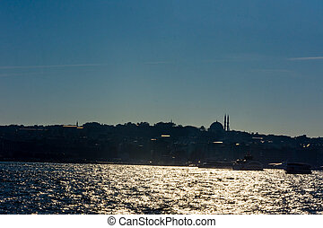 beautiful silhouette of part of  Istanbul
