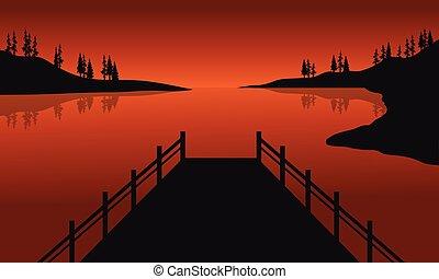 Beautiful silhouette of pier