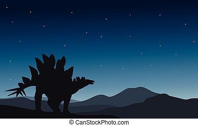 Beautiful silhouette stegosaurus