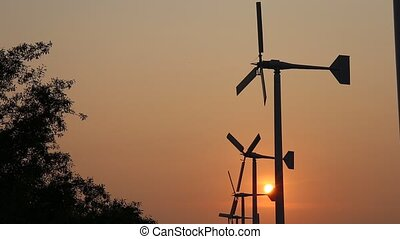 Wind turbine power generator - Beautiful silhouette Wind...