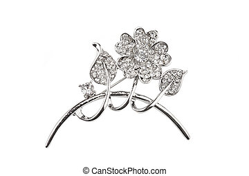 Beautiful silver flower brooch, isolated on white