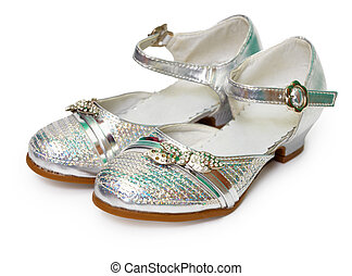 Beautiful silver shoes for girl on white
