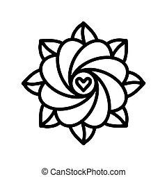 Beautiful Simple Deco Round Mandala. Flat Vector illustration. Patterned design.
