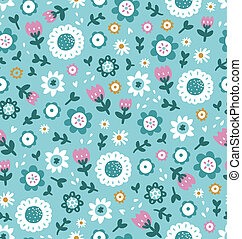 Beautiful simple flowers seamless pattern