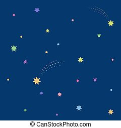 Beautiful simple night starry sky seamless pattern