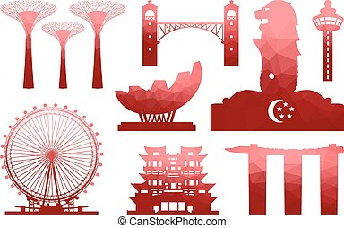 Beautiful Singapore Travel Icon. Vector and Illustration.